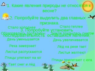1. Какие явления природы не относятся к весне? 2. Попробуйте выделить два гл