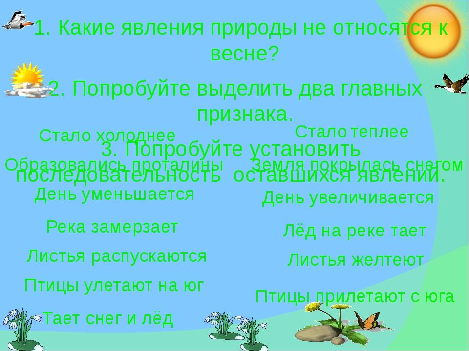 1. Какие явления природы не относятся к весне? 2. Попробуйте выделить два гл...