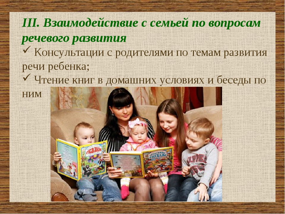 III. Взаимодействие с семьей по вопросам речевого развития Консультации с ро...