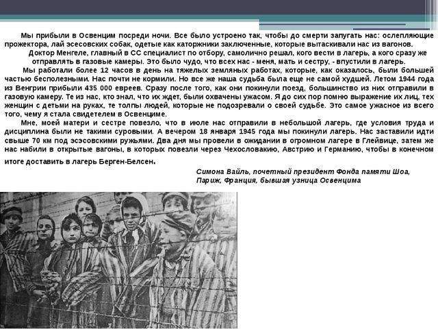 Мы прибыли в Освенцим посреди ночи. Все было устроено так, чтобы до смерти за...