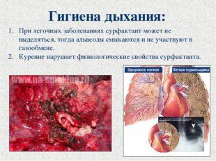 Гигиена дыхания: При легочных заболеваниях сурфактант может не выделяться, то