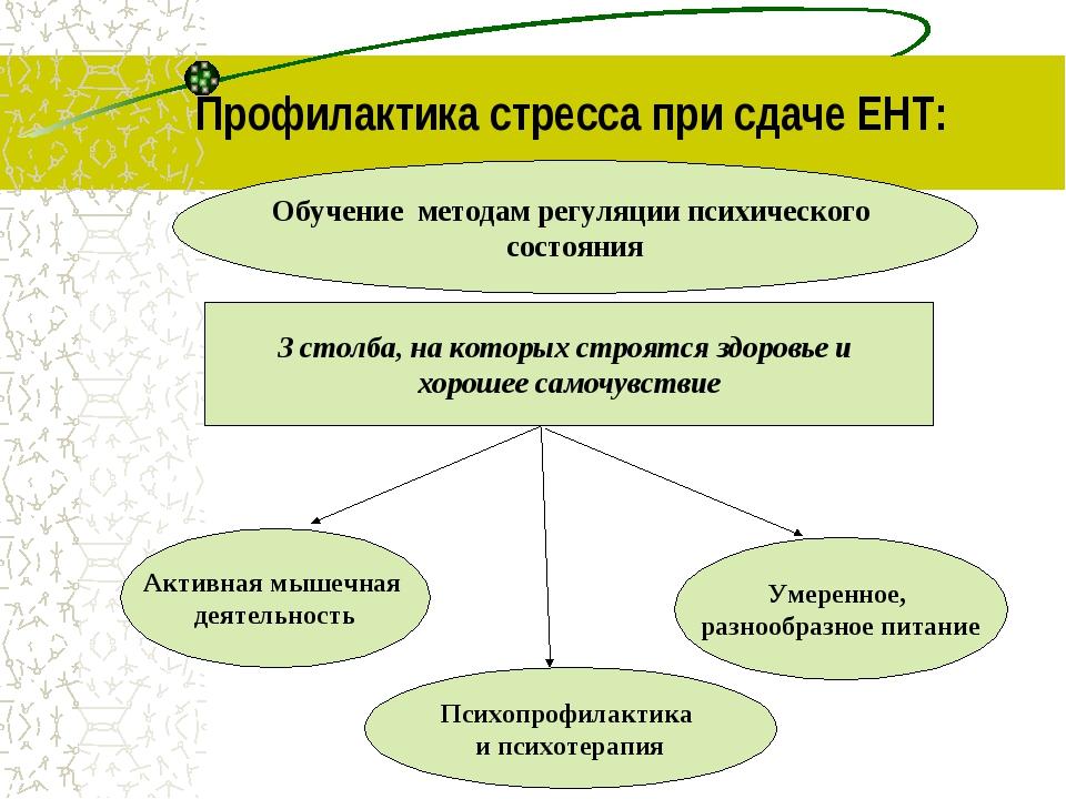 Профилактика стресса при сдаче ЕНТ: Обучение методам регуляции психического с...