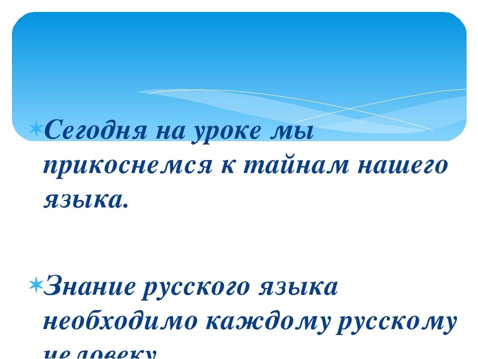 Сегодня на уроке мы прикоснемся к тайнам нашего языка. Знание русского языка...