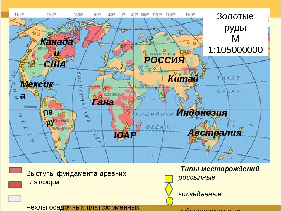Типы месторождений россыпные колчеданные гидротермальные Золотые руды М 1:10...