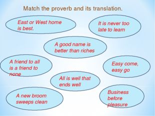 Match the proverb and its translation. East or West home is best. A friend to