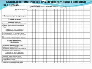 Календарно-тематическое планирование учебного материала на II четверть   Д