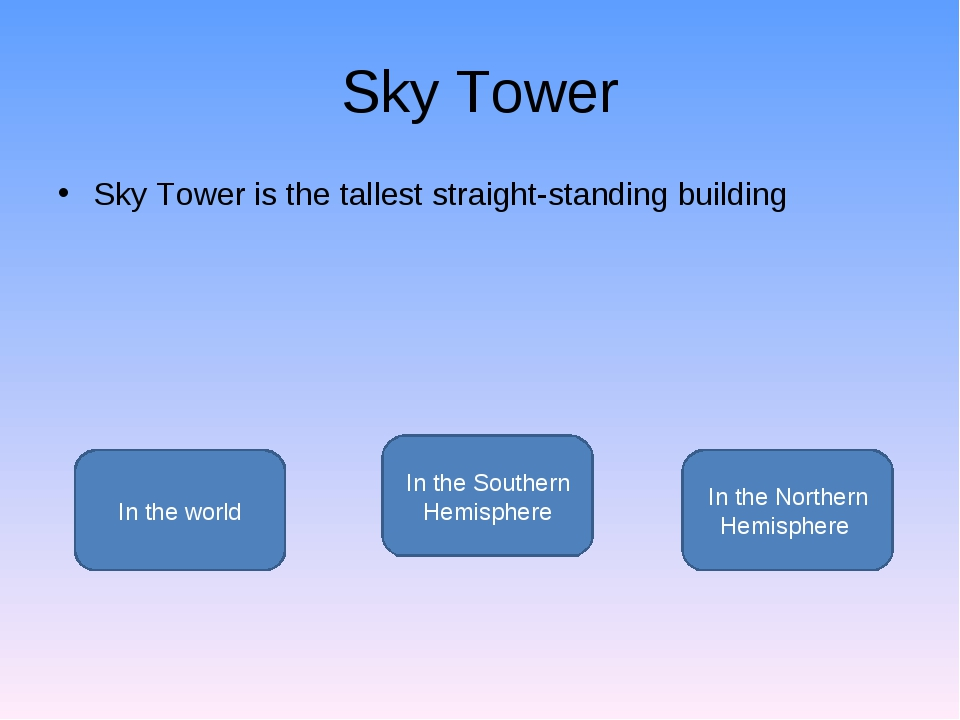 Sky Tower Sky Tower is the tallest straight-standing building In the Southern...