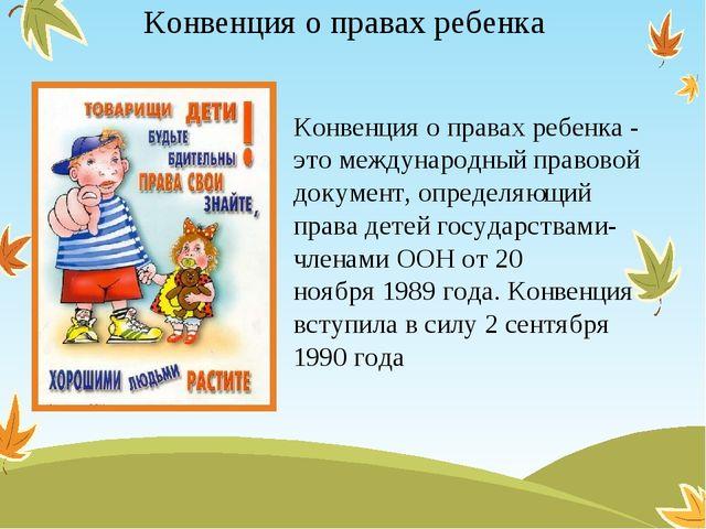 Конвенция о правах ребенка Конвенция о правах ребенка - это международный пра...