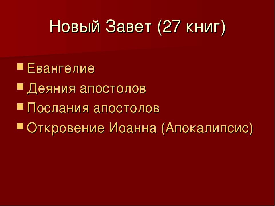 Новый Завет (27 книг) Евангелие Деяния апостолов Послания апостолов Откровени...