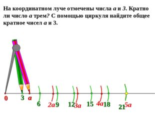 На координатном луче отмечены числа а и 3. Кратно ли число а трем? С помощью