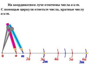 а На координатном луче отмечены числа а и т. С помощью циркуля отметьте числа