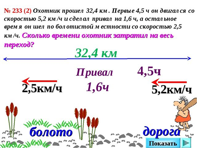 № 233 (2) Охотник прошел 32,4 км. Первые 4,5 ч он двигался со скоростью 5,2 к...