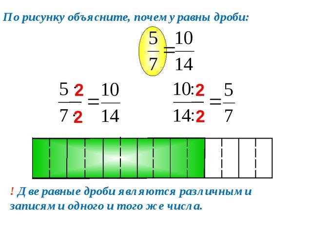 По рисунку объясните, почему равны дроби: ! Две равные дроби являются различн...