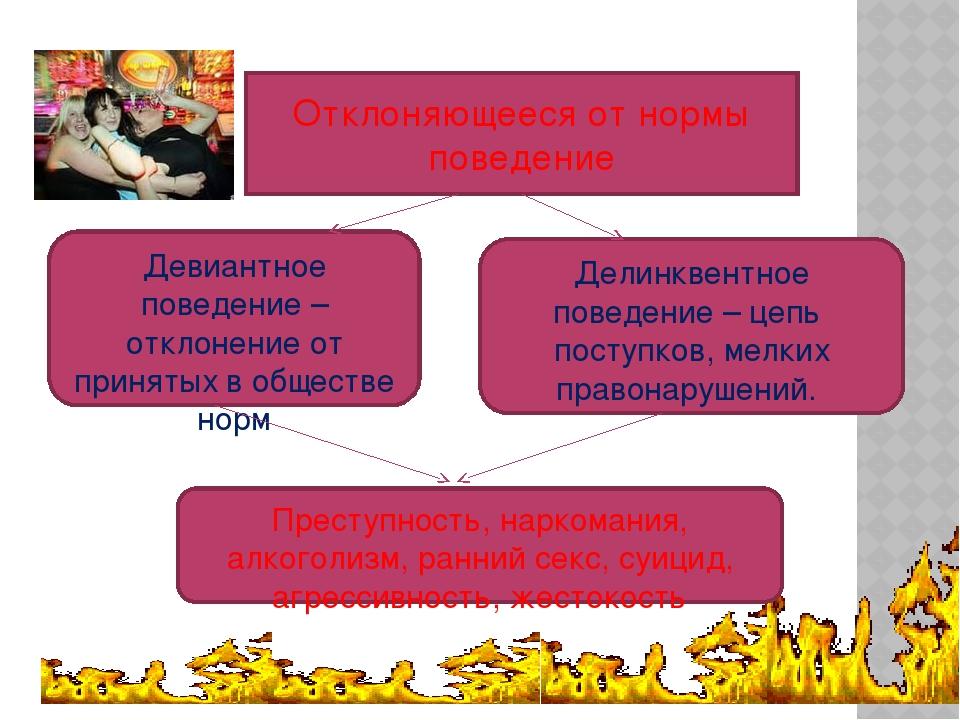 Отклоняющееся от нормы поведение Девиантное поведение –отклонение от приняты...