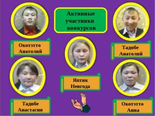 Активные участники конкурсов Окотэтто Анатолий Яптик Ненгода Тадибе Анастасия