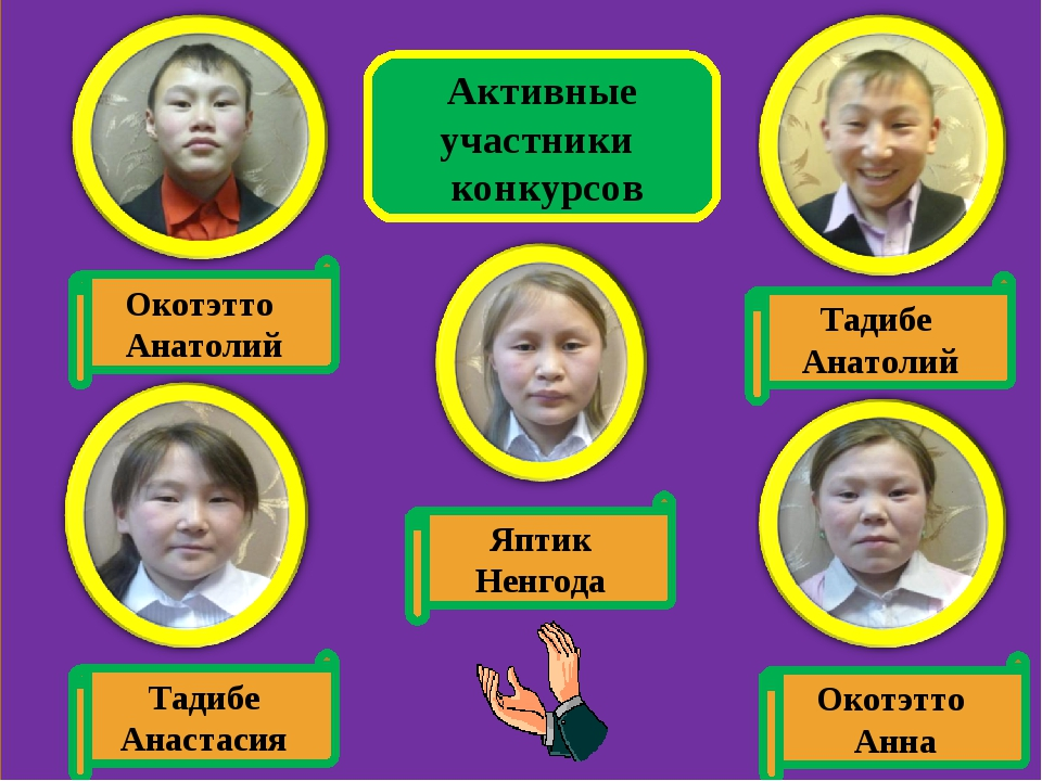 Активные участники конкурсов Окотэтто Анатолий Яптик Ненгода Тадибе Анастасия...