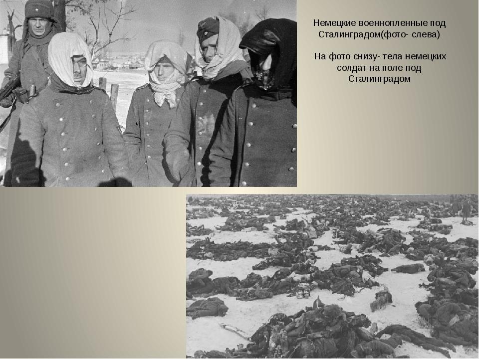 Немецкие военнопленные под Сталинградом(фото- слева) На фото снизу- тела неме...