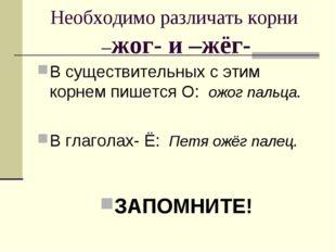 Необходимо различать корни –жог- и –жёг- В существительных с этим корнем пише