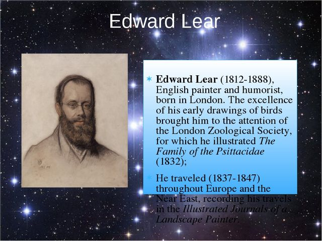 Edward Lear (1812-1888), English painter and humorist, born in London. The e...