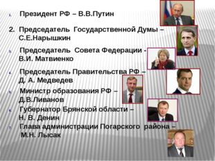 Президент РФ – В.В.Путин 2. Председатель Государственной Думы – С.Е.Нарышкин