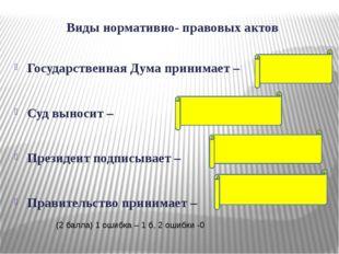 Виды нормативно- правовых актов Государственная Дума принимает – Суд выносит