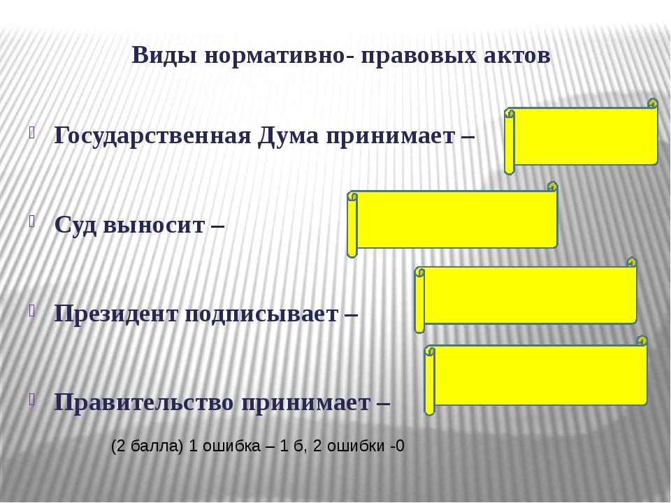 Виды нормативно- правовых актов Государственная Дума принимает – Суд выносит...