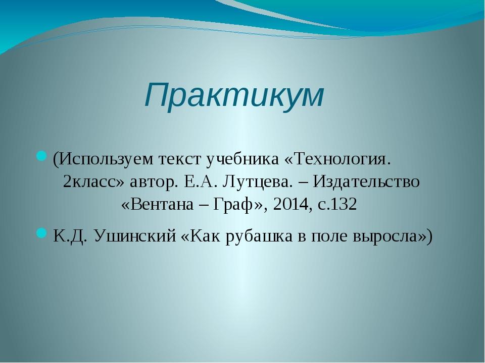 Практикум (Используем текст учебника «Технология. 2класс» автор. Е.А. Лутцева...