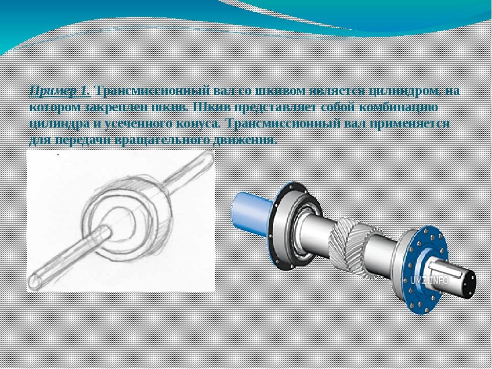 Пример 1. Трансмиссионный вал со шкивом является цилиндром, на котором закре...