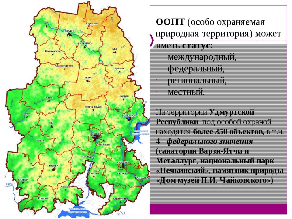 ООПТ (особо охраняемая природная территория) может иметь статус: международны...
