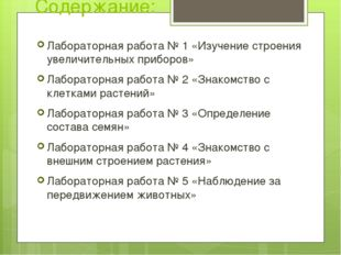 Содержание: Лабораторная работа № 1 «Изучение строения увеличительных приборо