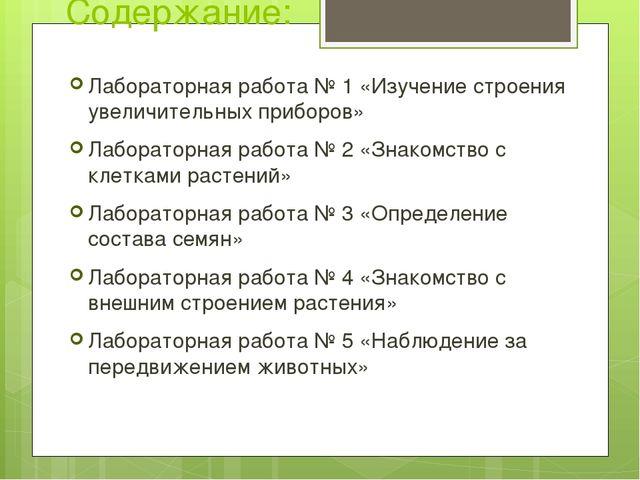 Содержание: Лабораторная работа № 1 «Изучение строения увеличительных приборо...