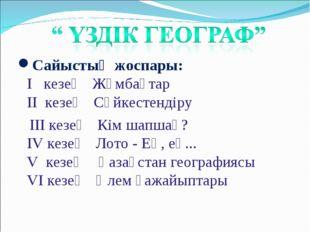 Сайыстың жоспары: І кезең Жұмбақтар ІІ кезең Сәйкестендіру ІІІ кезең Кім шапш