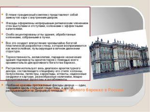 — Зимний дворец — самый известный памятник зрелого барокко в России. В плане