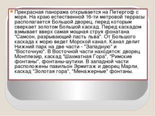 Прекрасная панорама открывается на Петергоф с моря. На краю естественной 16-т