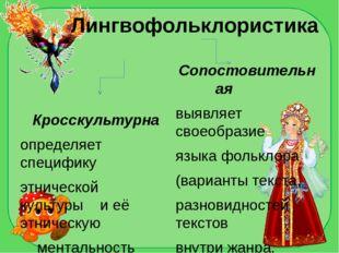 Лингвофольклористика Кросскультурна определяет специфику этнической культуры