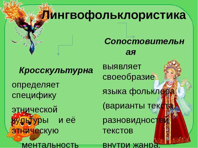 Лингвофольклористика Кросскультурна определяет специфику этнической культуры...