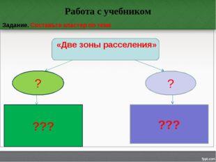 Работа с учебником Задание. Составьте кластер по теме «Две зоны расселения» ?