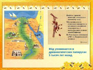 Мёд упоминается в древнеегипетских папирусах 5 тысяч лет назад.