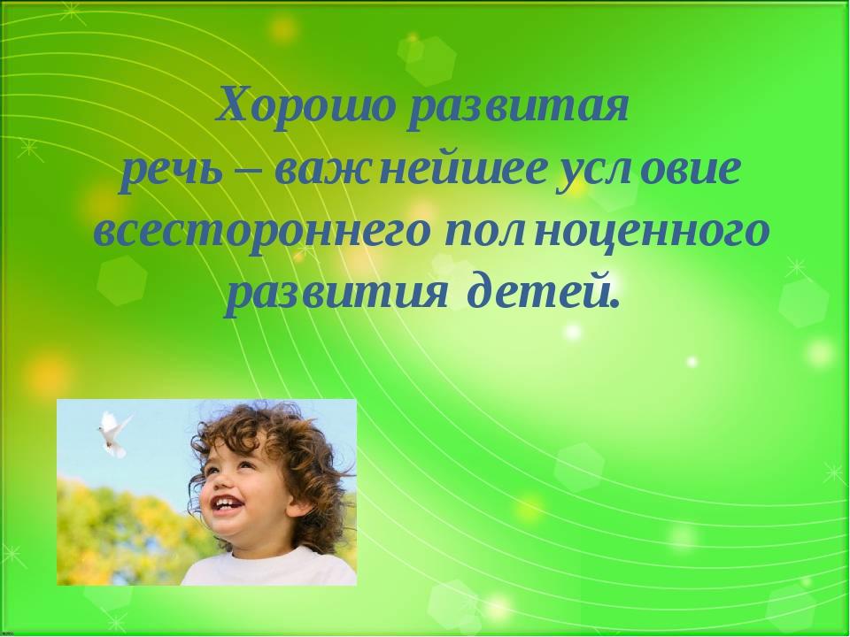 Хорошо развитая речь – важнейшее условие всестороннего полноценного развития...