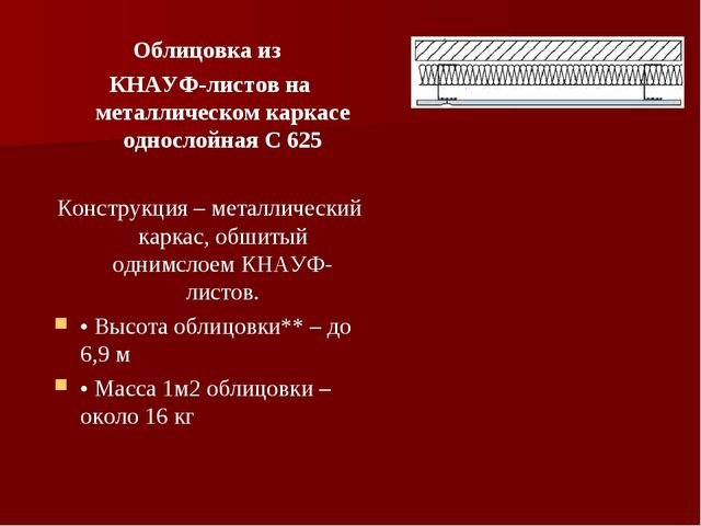 Облицовка из КНАУФ-листов на металлическом каркасе однослойная С 625 Конструк...
