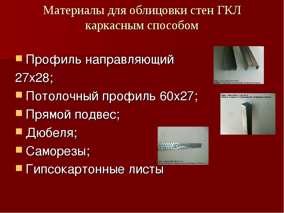 Материалы для облицовки стен ГКЛ каркасным способом Профиль направляющий 27х2...