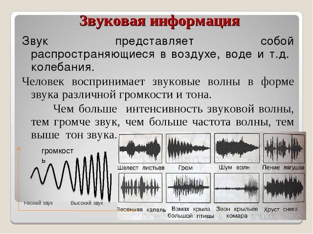 Звуковая информация Звук представляет собой распространяющиеся в воздухе, вод...