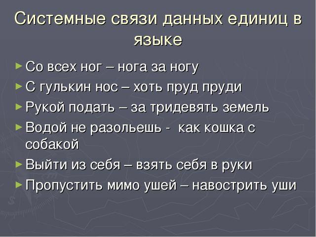 Системные связи данных единиц в языке Со всех ног – нога за ногу С гулькин но...