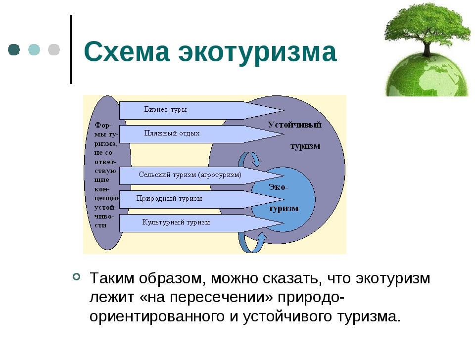 Схема экотуризма Таким образом, можно сказать, что экотуризм лежит «на пересе...