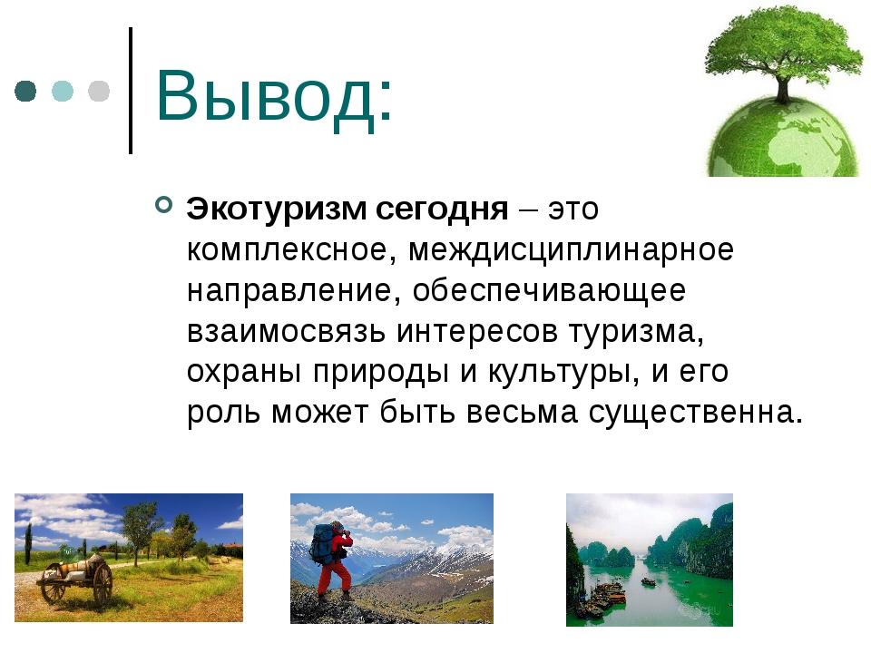 Вывод: Экотуризм сегодня – это комплексное, междисциплинарное направление, об...