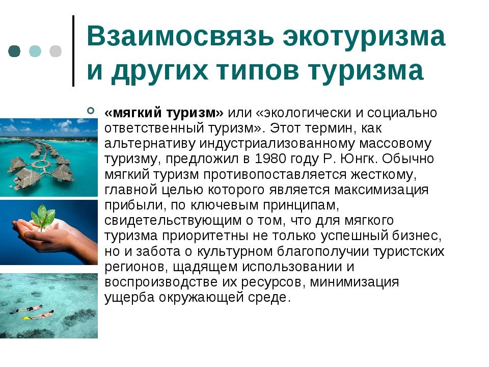 Взаимосвязь экотуризма и других типов туризма «мягкий туризм» или «экологичес...