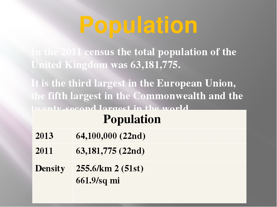 Population In the 2011 census the total population of the United Kingdom was...