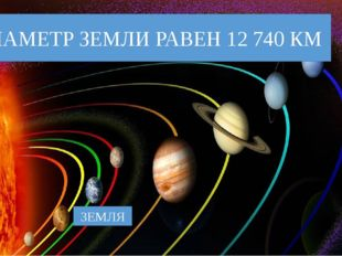 ЗЕМЛЯ ДИАМЕТР ЗЕМЛИ РАВЕН 12 740 КМ