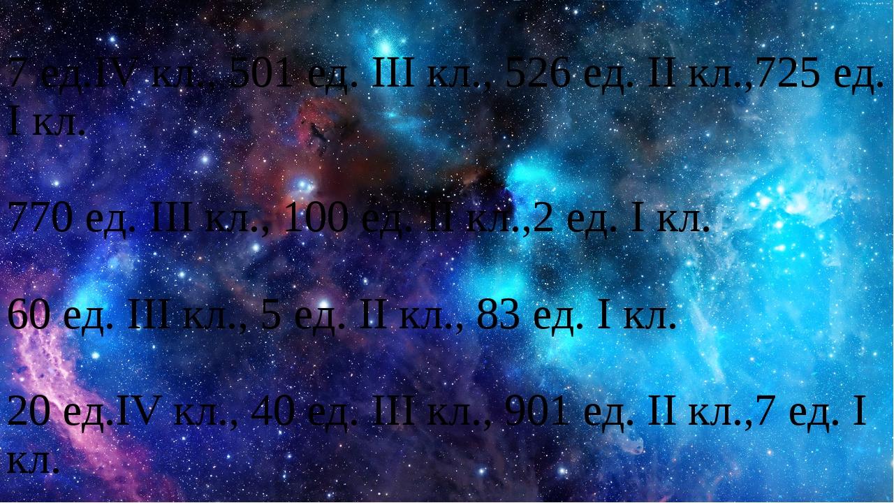 7 ед.IV кл., 501 ед. III кл., 526 ед. II кл.,725 ед. I кл. 770 ед. III кл.,...