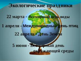 Экологические праздники 22 марта - Всемирный день воды 1 апреля - Международн